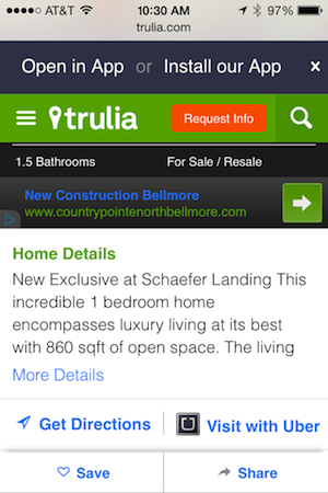 'Visit with Uber' links (shown in the bottom right-hand corner of the image above) now appear on Trulia listing pages.