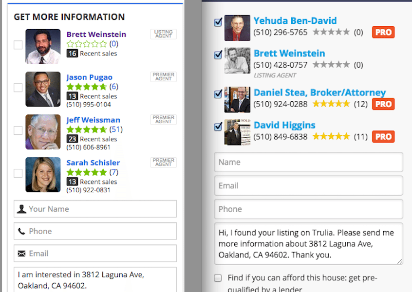 Zillow (left) currently preselects none or just one agent to receive a lead; Trulia