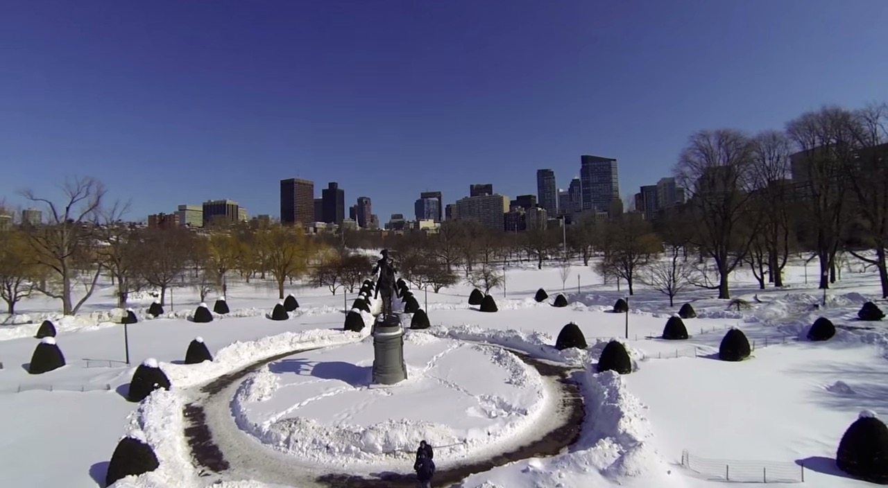 Watch bird's-eye video of Boston's snow-covered cityscape