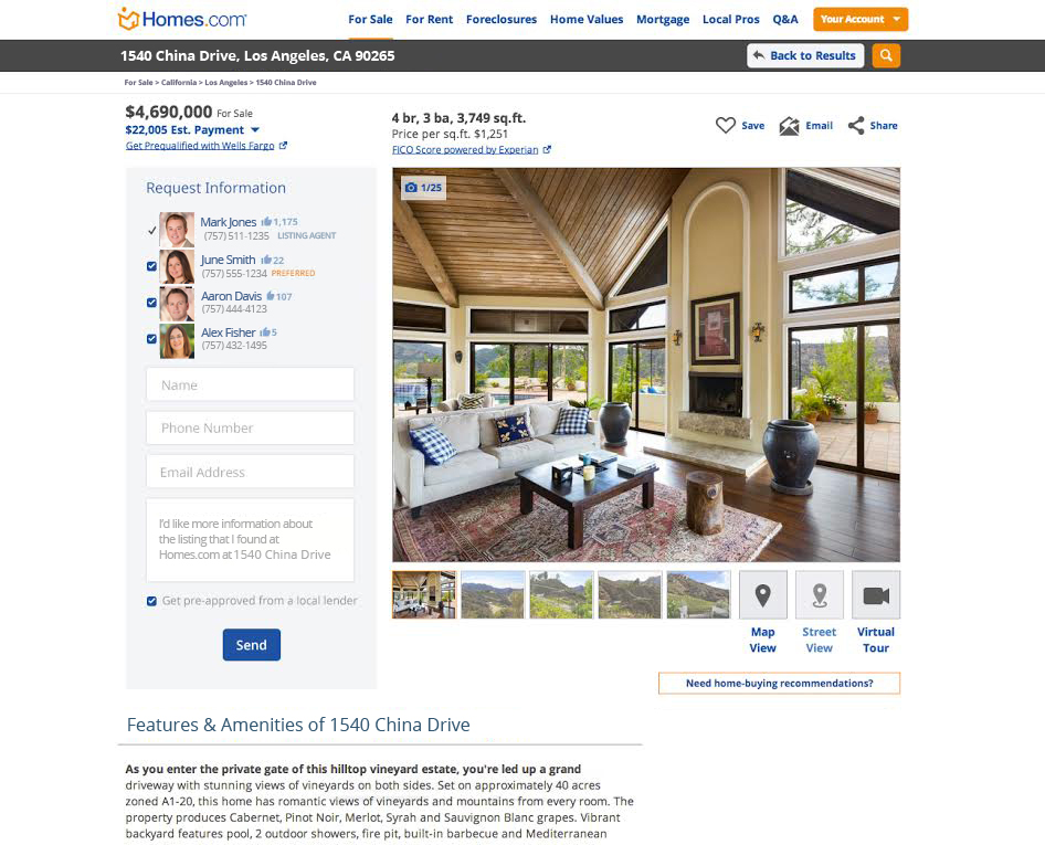 "Example of Homes.com's ""Local Connect"" ad."