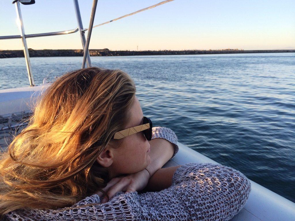 Karla Saladino on a boat.