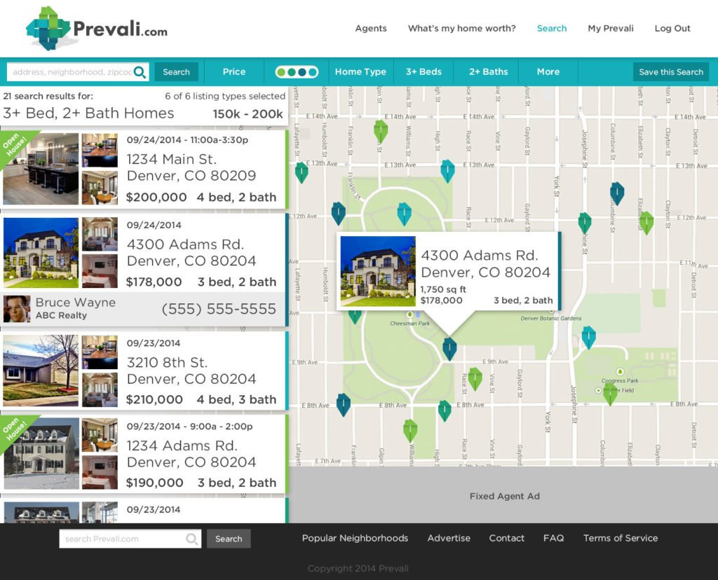 Screenshot showing Prevail listing search page.