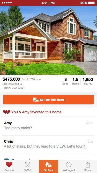 Screen shot showing Redfin Shared Search page on home.