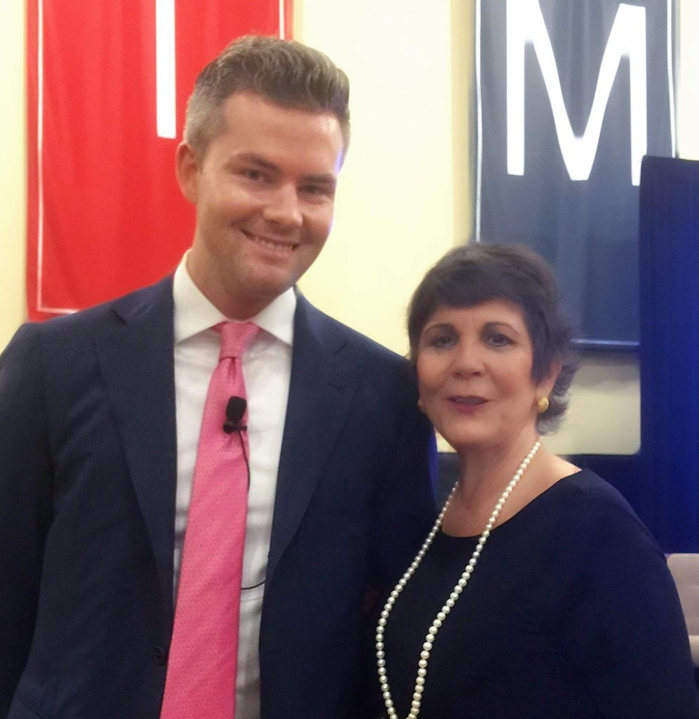 Ryan Serhant poses with Katherine Salvio, a real estate agent at NextStopNY, at a panel on real estate data hosted by StreetEasy. Credit: Katherine Salvio