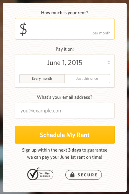 First step in the process renters take to begin paying rent digitally with RadPad.