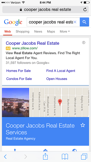 Zillow ad with Realtor's name