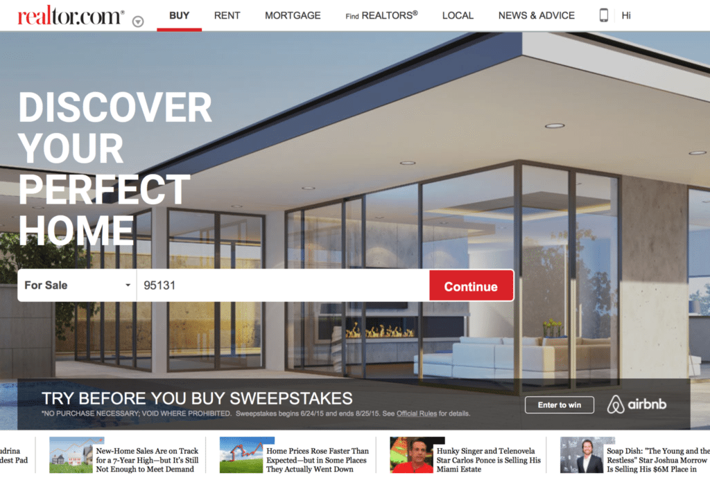Realtor.com's homepage with the new Airbnb option.