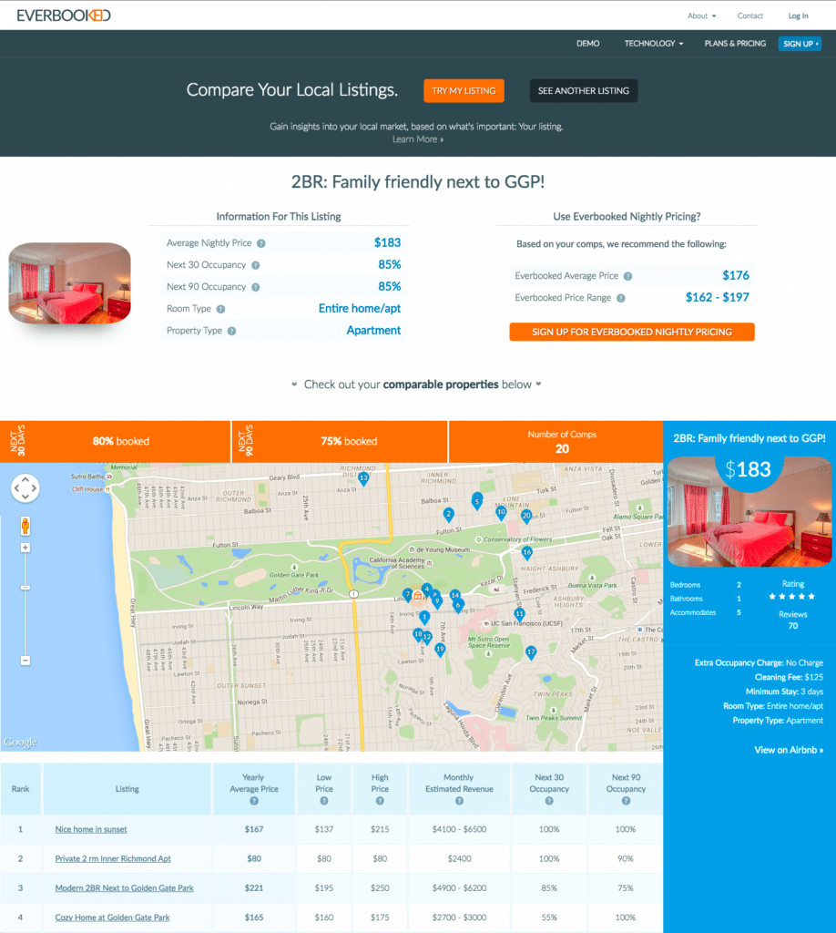 Everbooked's Airbnb comps tool in action.