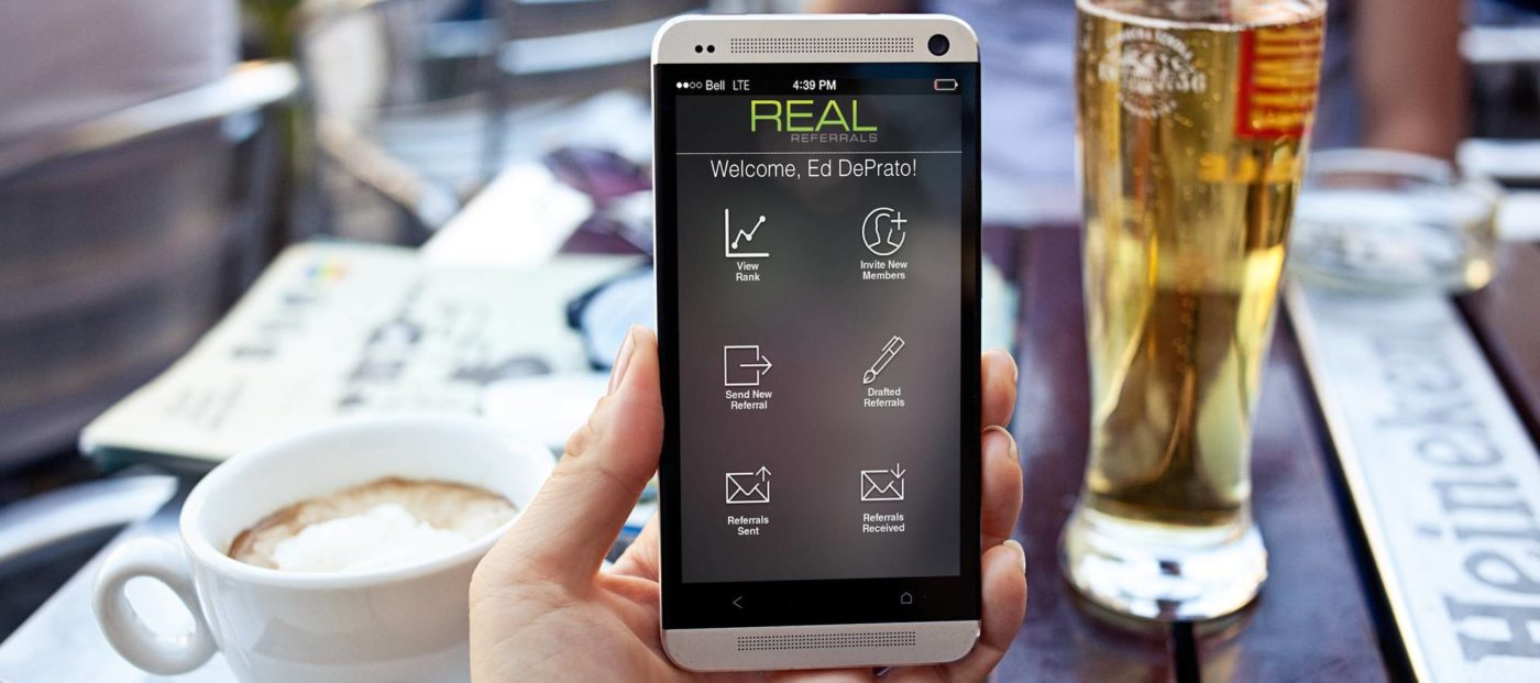 Agents can text each other business with Real Referrals' mobile app