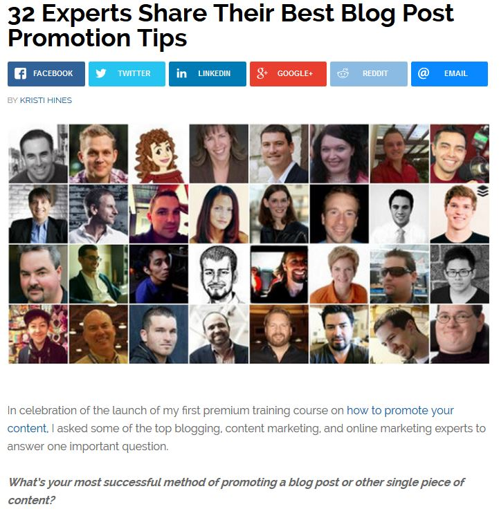 32 experts blog post promotion