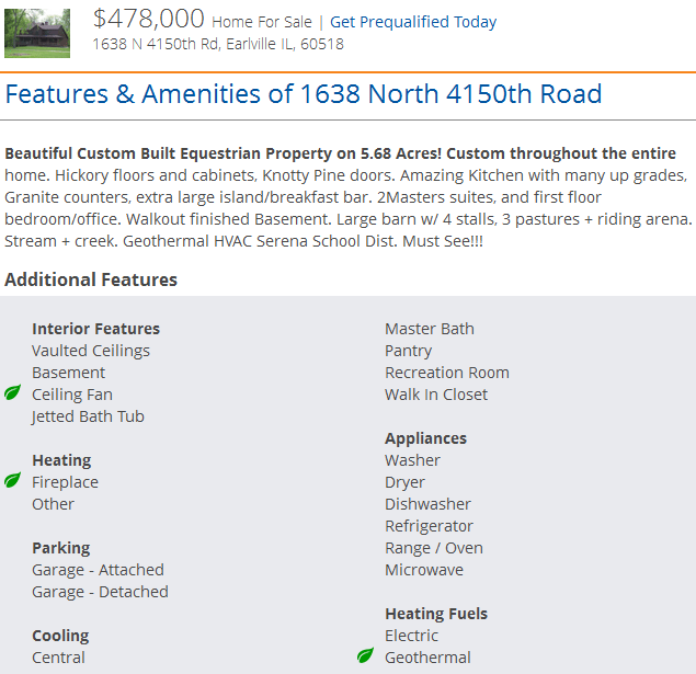 "Screen shot of a Homes.com listing detail page with ""green"" features highlighted by leaves"