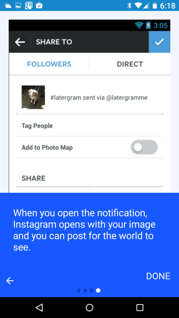 Screenshot of Latergramme