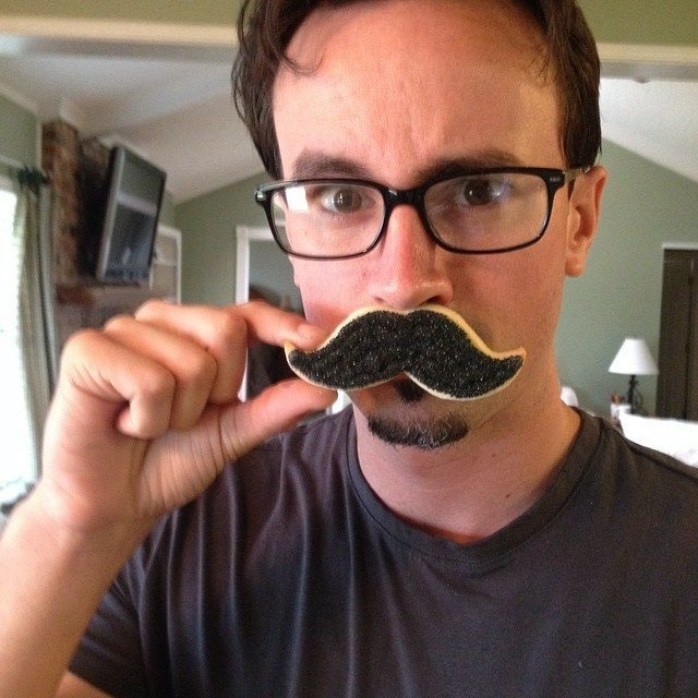 Charlie Peterson's mustache-cookie photo.