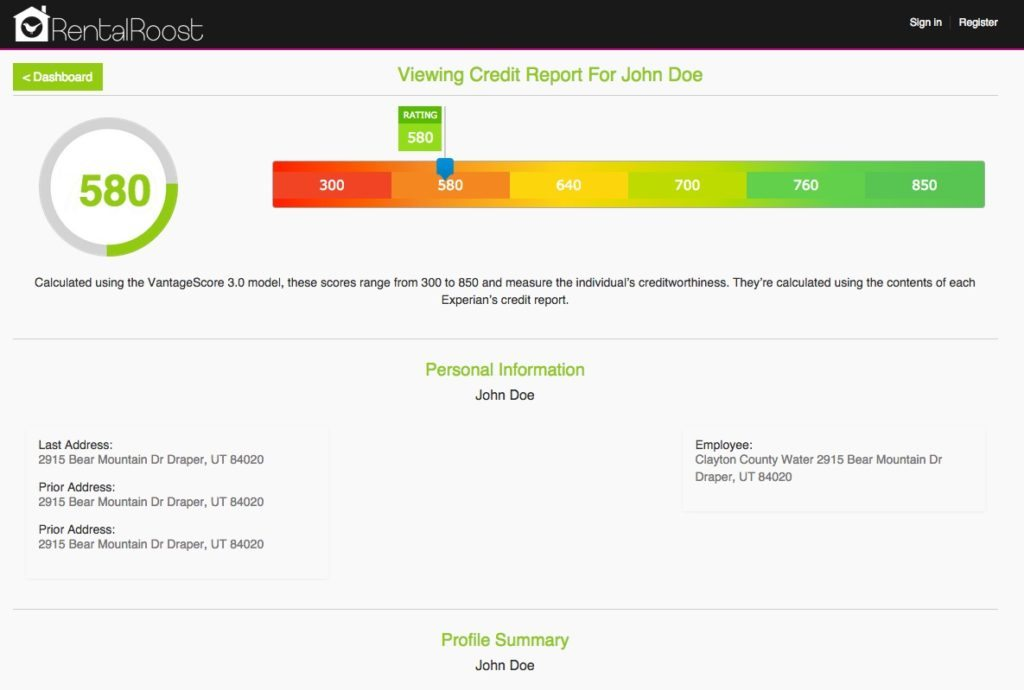 An example of the Rental Roost credit report.