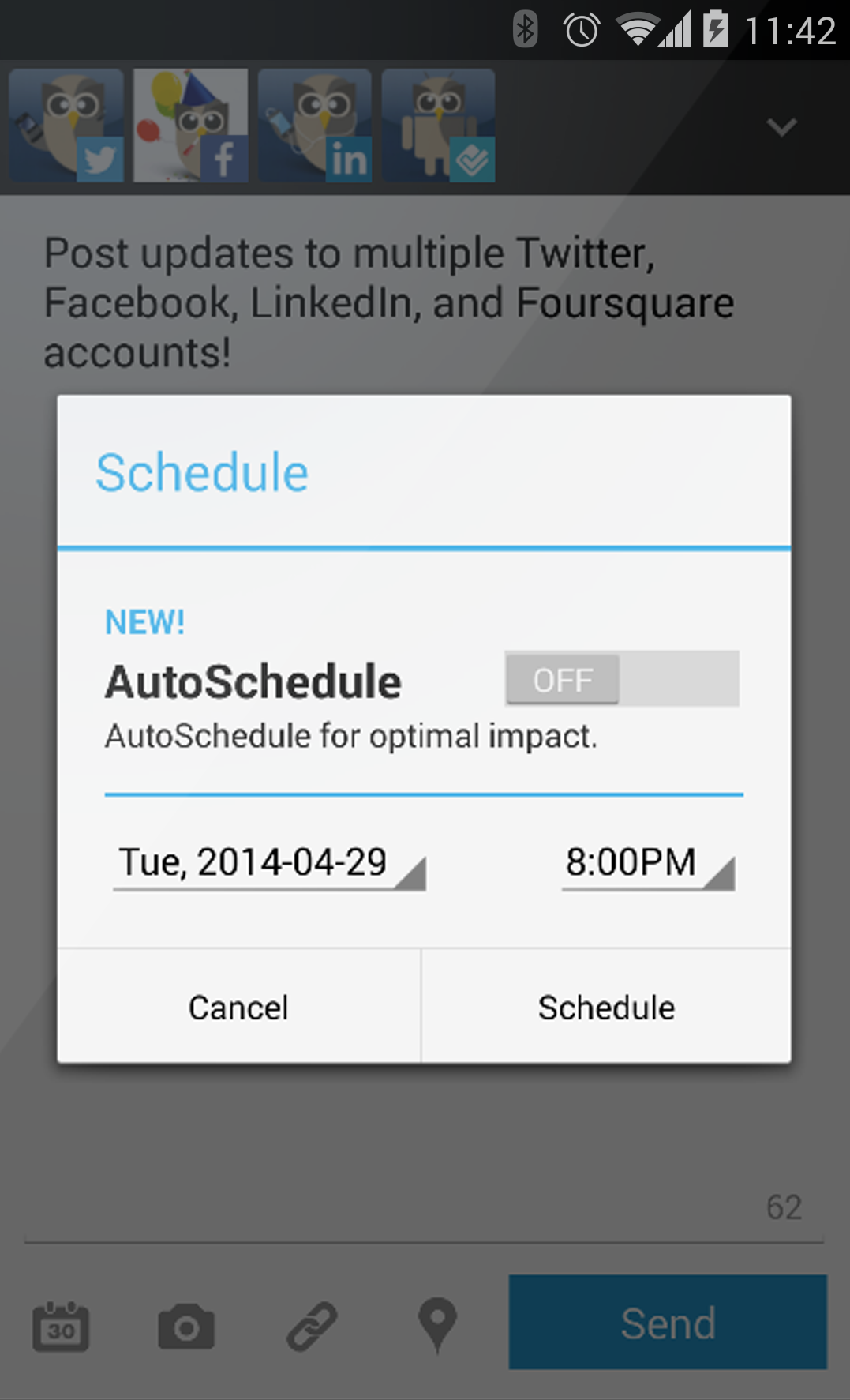 Hootsuite scheduling on mobile