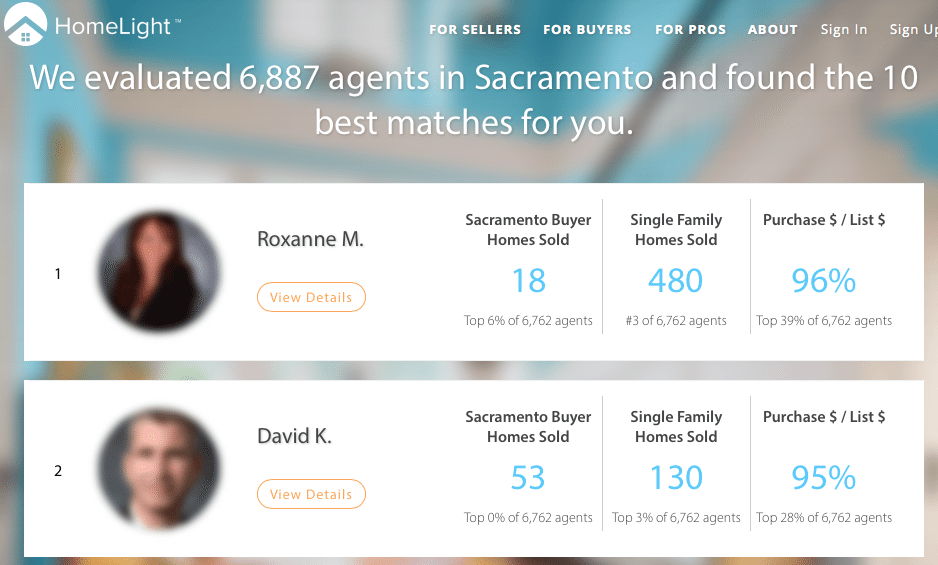 Screenshot showing HomeLight results of search for agents in Sacramento.