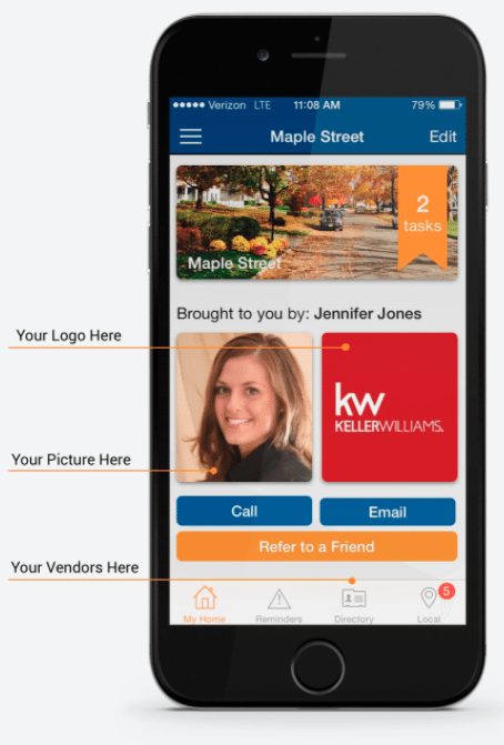 Promotional image of HomeKeepr integrated with Keller Williams' agent-branded app