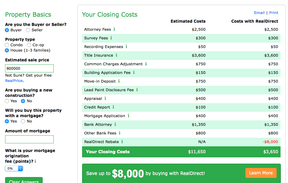 Screenshot showing RealDirect's savings estimate for a buyer who purchases a $800,000 existing home with a mortgage using RealDirect, compared to a traditional brokerage.