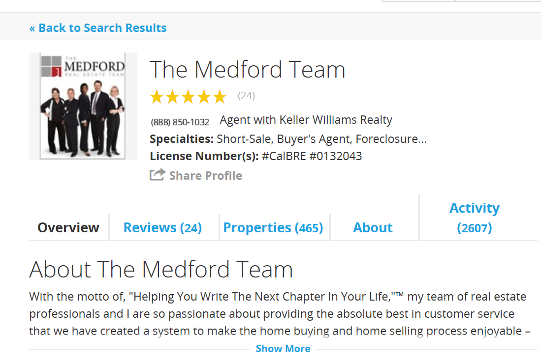 """""""Here is my current Trulia page – I had one of the highest ranked pages on Trulia because of my involvement over the years, but they overwrote my page with my Team page from Zillow,"""" said Carl Medford."""