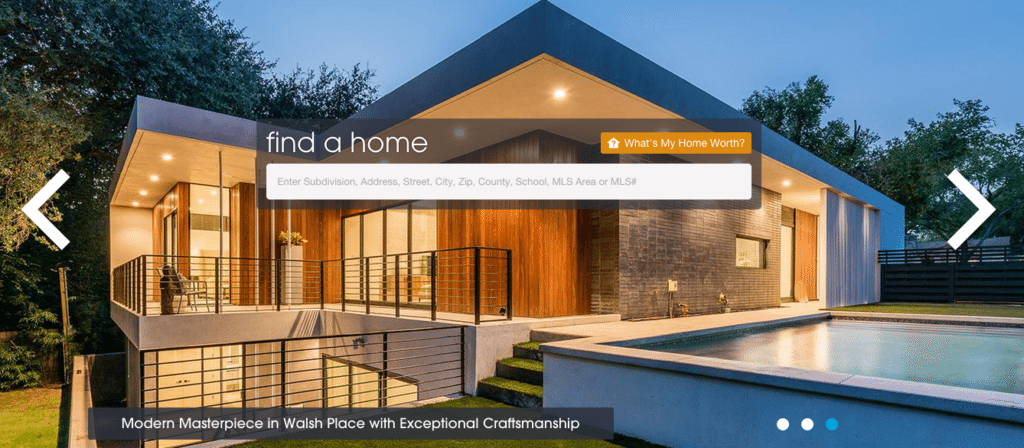 Screen shot of Realty Austin's homepage.