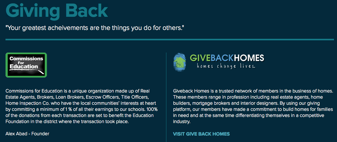 "Screen shot showing the ""Giving Back"" section of Alex Abad's website."