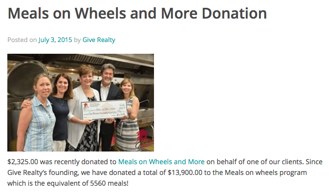 Screen shot showing blog post by Give Realty on a recent donation it made in partnership with a client.