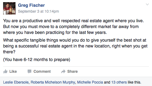 Greg Fischer's Facebook post in Raise the Bar prompted a discussion ont how relocating agents can hit the ground running.
