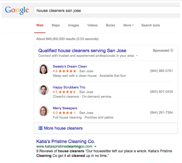 Promotional image showing example of Google's home services ads.