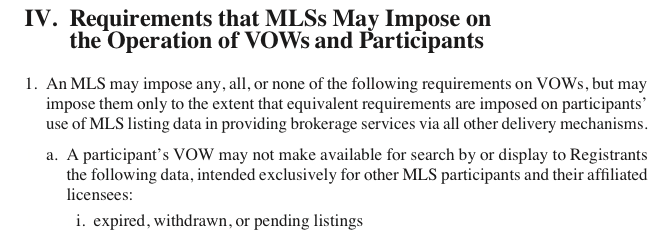 NAR's MLS policy handbook indicates that MLSs have the choice as to whether to prohibit brokerages from displaying expired, pending or withdrawn listings on virtual office websites.