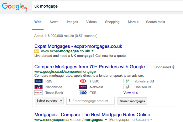 Screen shot showing Google's United Kingdom mortgage tool.