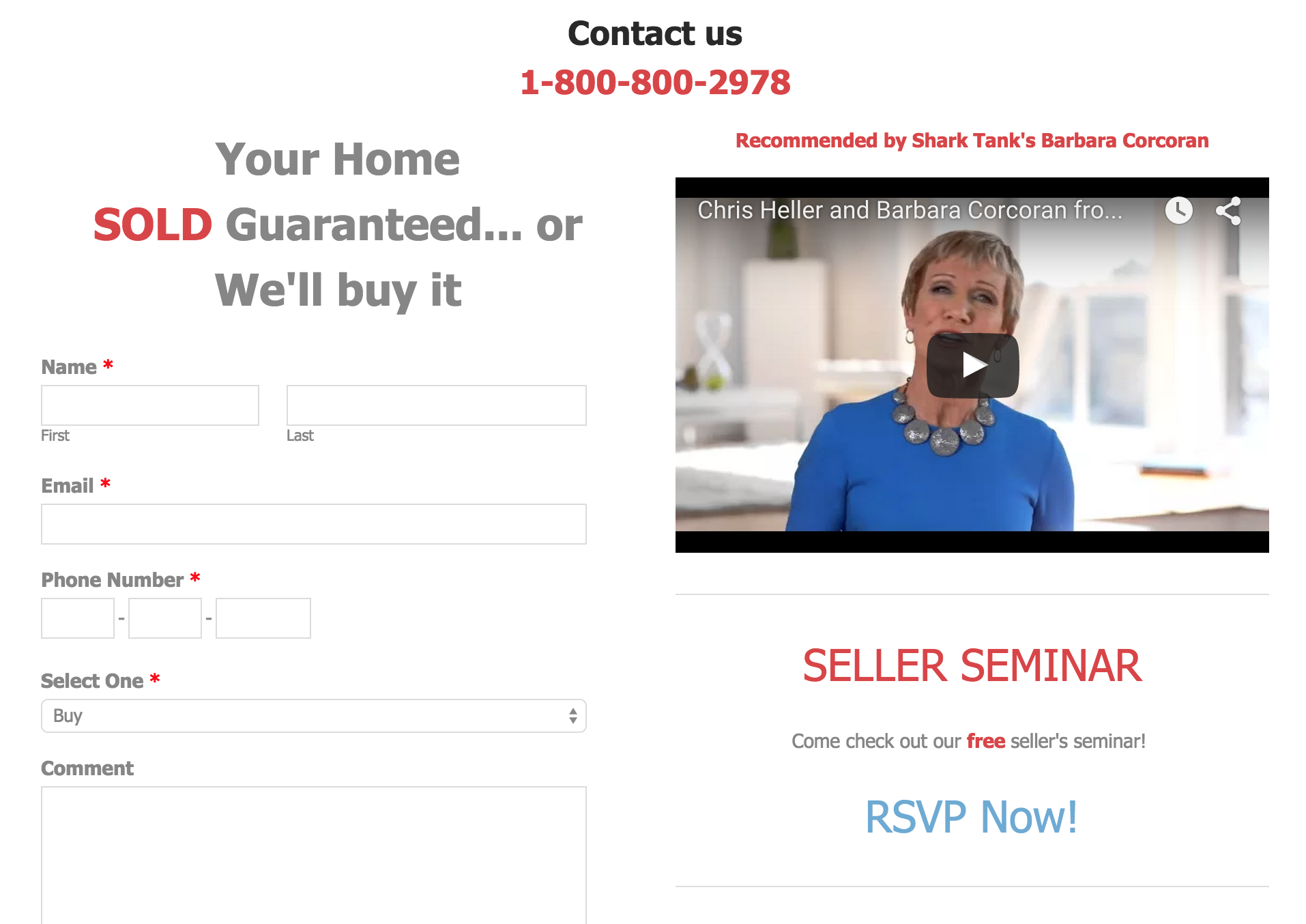 Screen shot showing guaranteed home sale offer that appears on askhellerthehomeseller.com alongside an endorsement of Chris Heller by Barbara Corcoran.