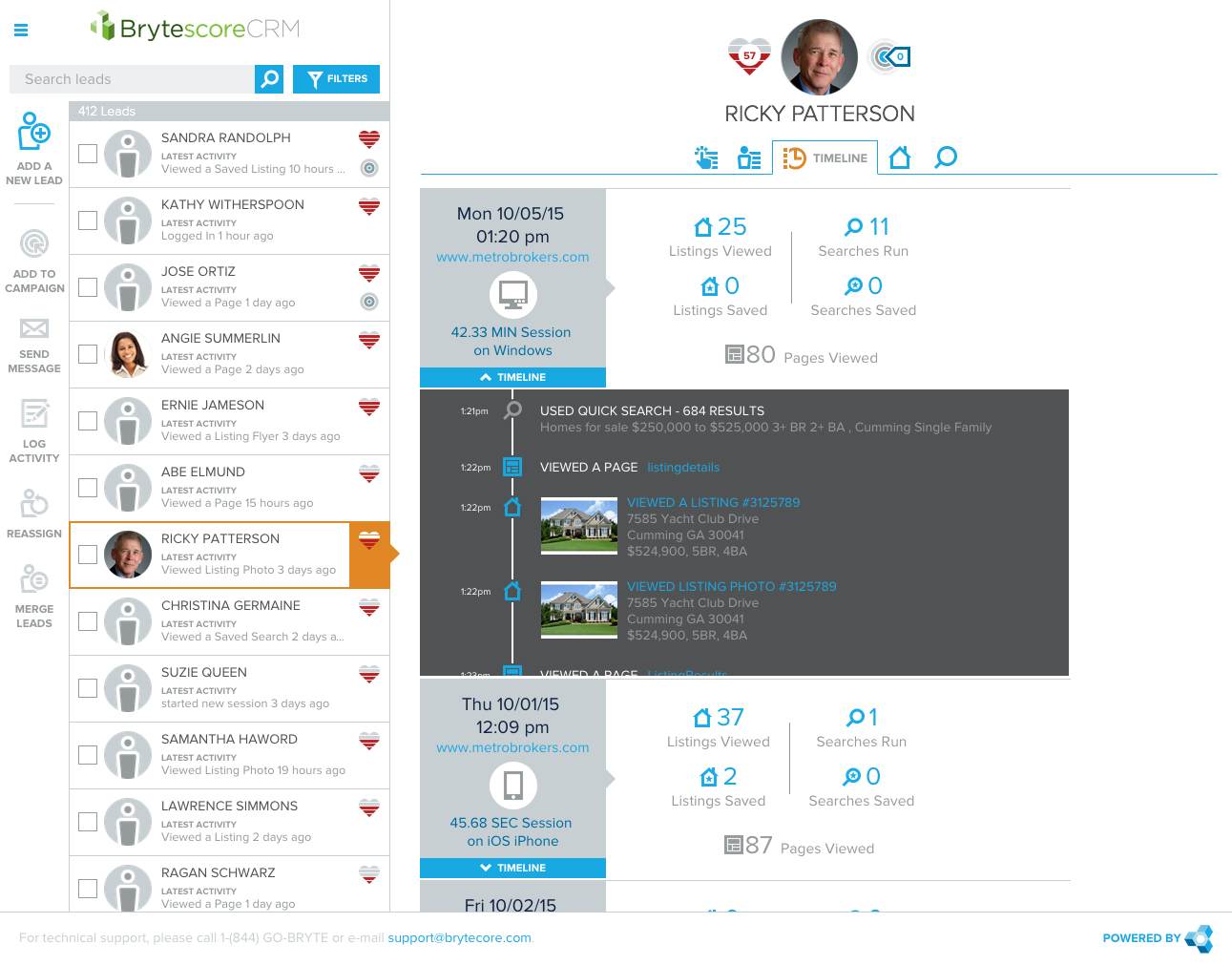 Screen shot showing Brytescore lead profile in Brytecore's CRM.