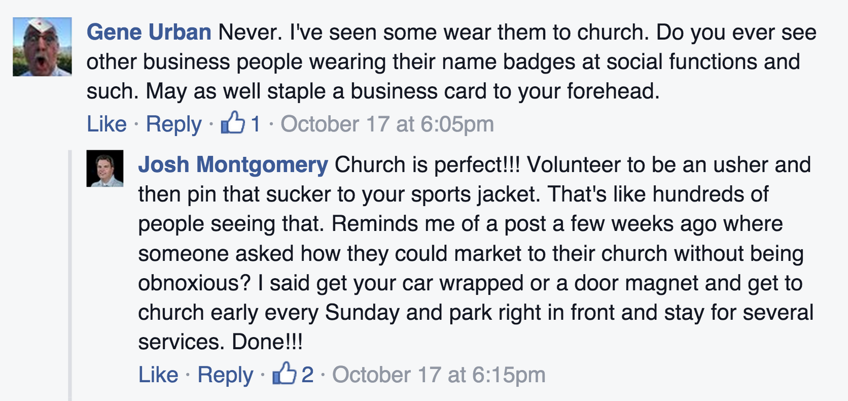 Screen shot showing comments from a recent Facebook conversation on name tags.