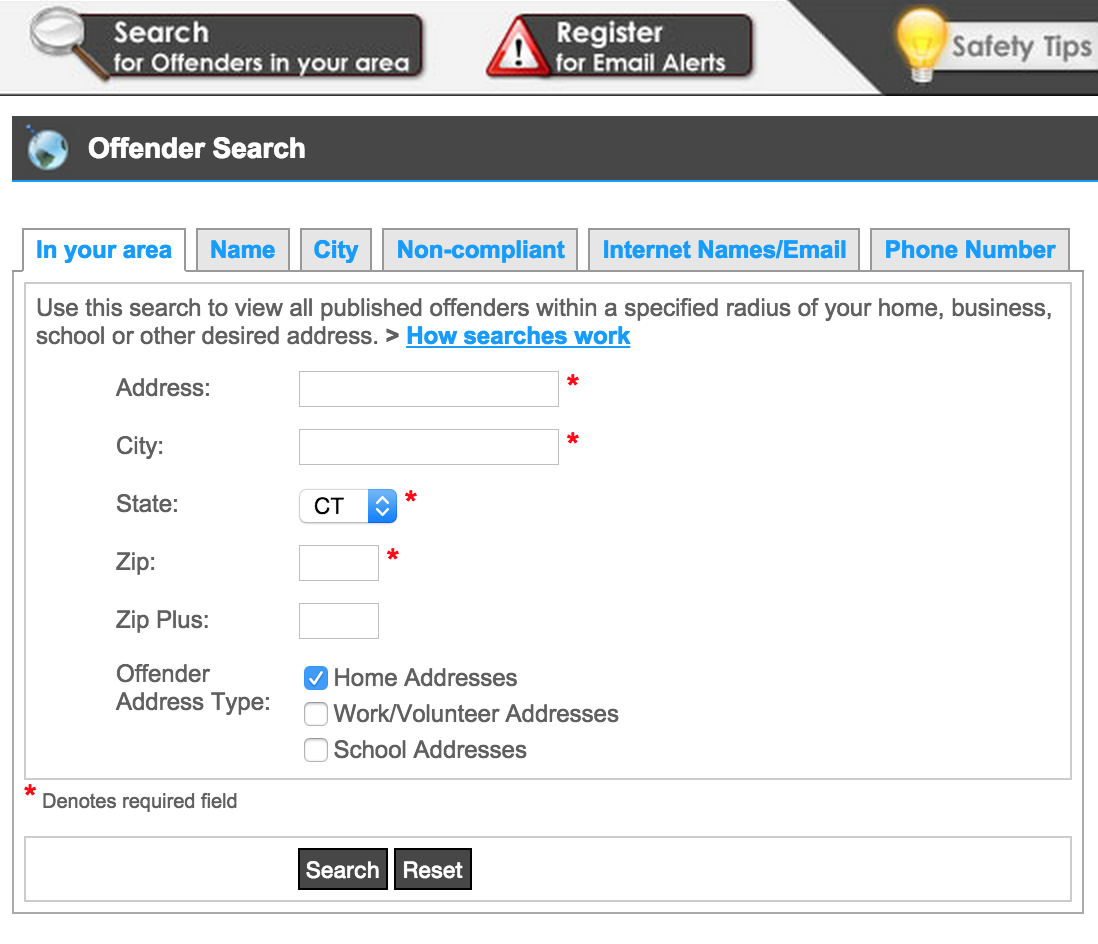 Screen shot showing Connecticut's online sex offender registry search tool.