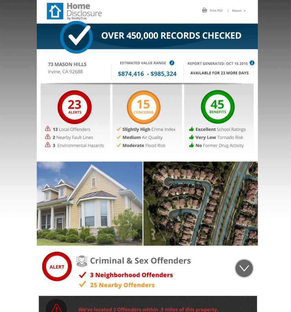 Screen shot showing sample Home Disclosure report