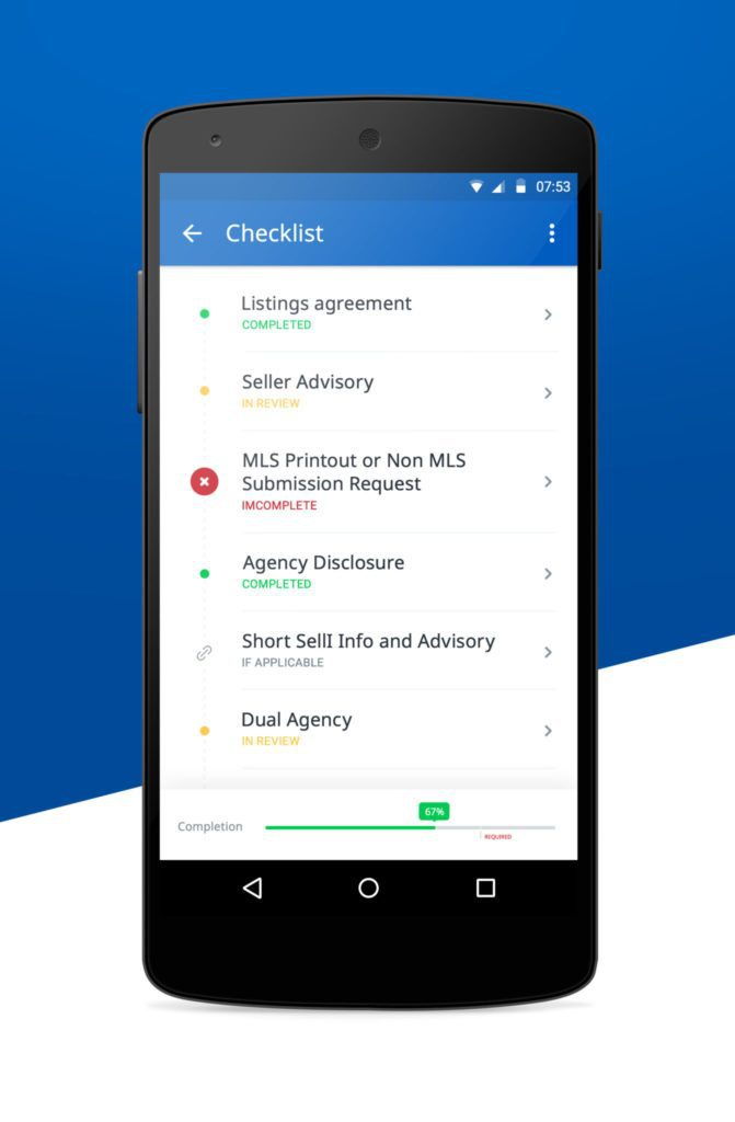 Screen shot showing SkySlope Android app