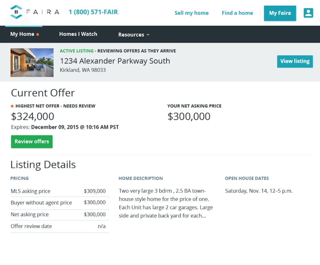A sample Faira offer page shows 2 prices: one for represented buyers; the other for unrepresented buyers.