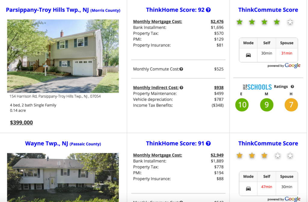 ThinkHome search results page.