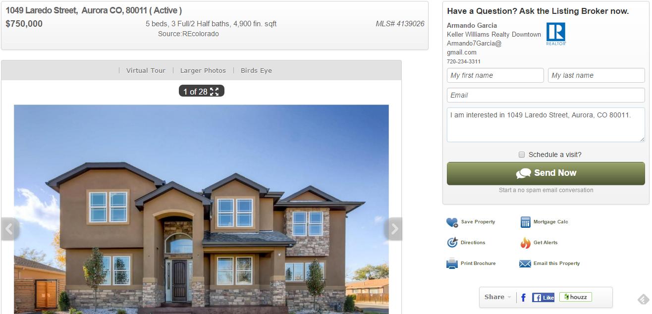 A property detail page on REcolorado.com