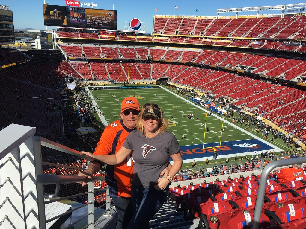 A photo of Faye and Patrick Finnick at Super Bowl 50.