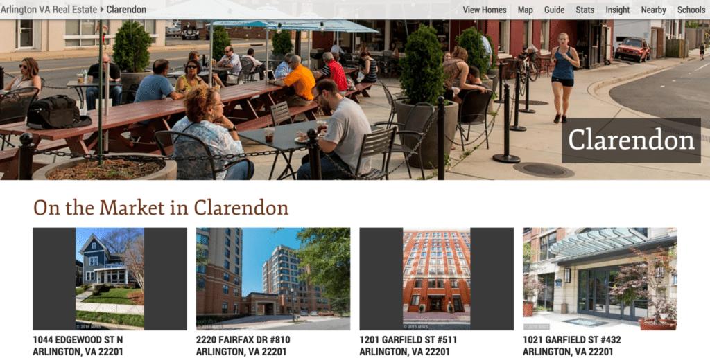 Screenshot showing c21redwood.com's neighborhood page for the Washington, D.C. neighborhood of Clarendon.