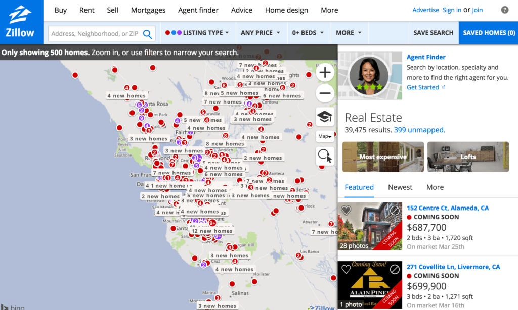Screenshot showing Zillow search results page on Jan. 2, when the