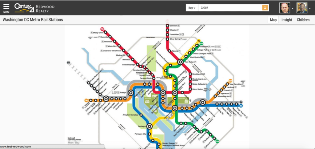 C21redwood.com users can click on any station on a subway map to see nearby listings and learn about the surrounding area.