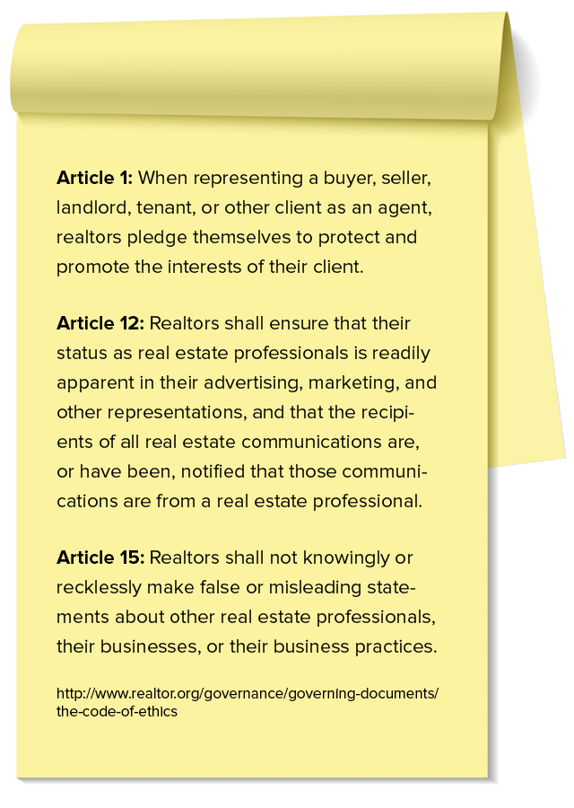 The social media-relevant components of the NAR Code of Ethics