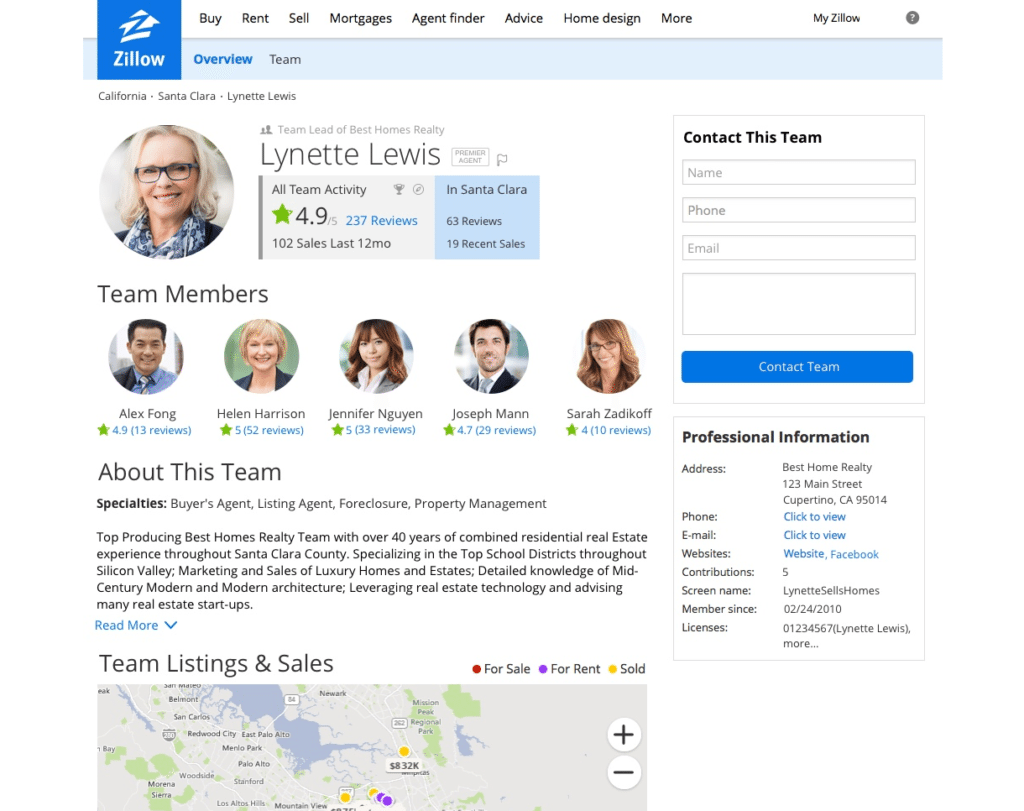 The new Zillow team profiles.