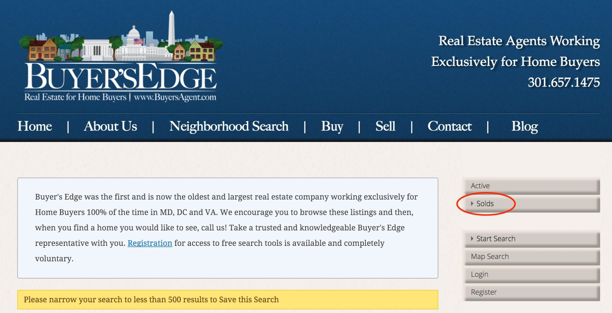A screenshot showing the new Buyer's Edge website functionality