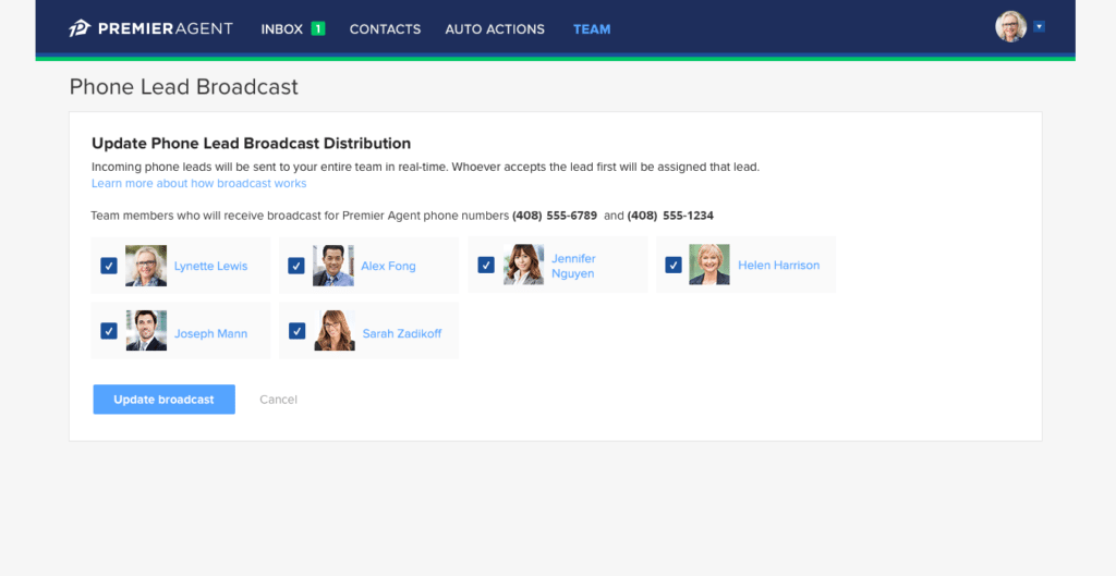 Zillow's phone broadcast tool.