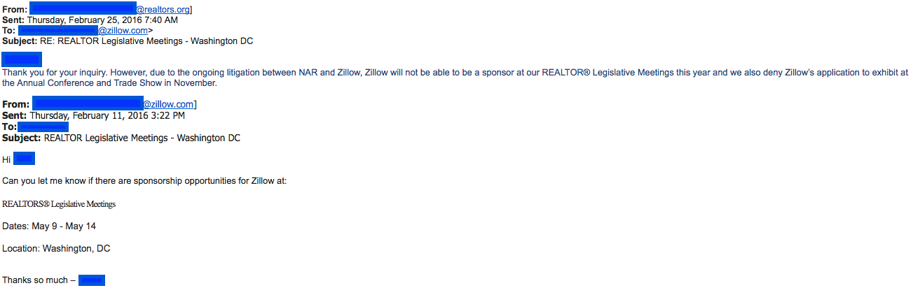 February 2016 email thread between NAR and Zillow excluding Zillow from NAR 2016 events