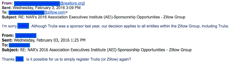 February 2016 email thread between NAR and Zillow excluding Zillow and Trulia from NAR's AEI event