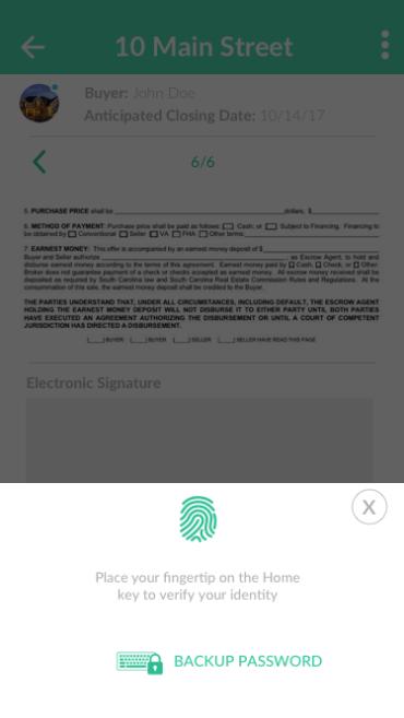 preclose finger print authentication
